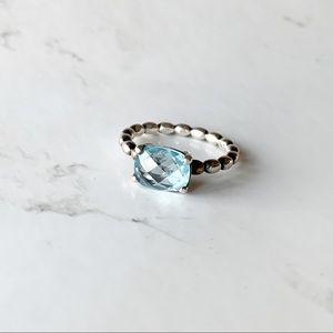 PANDORA Genuine Blue Topaz Sterling Silver Ring